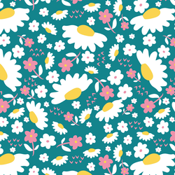 Daisies in Rose and Teal