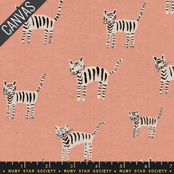 Tiger Stripes Canvas in Peach Unbleached