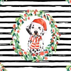 Holiday Wreath in Black Stripes