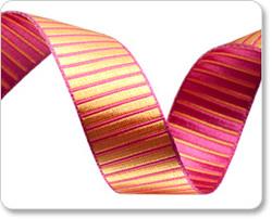 Reversible Striped Satin Ribbon in Fuchsia and Saffron