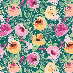 Berry Floral in Arbor Green