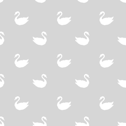 Swan Silhouette in White on Silver