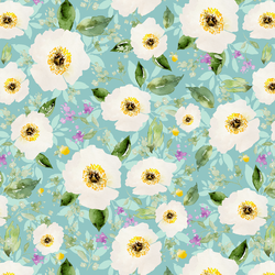 Iced Floral in Aqua Ice