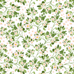 Little Strawberry Flowers in White