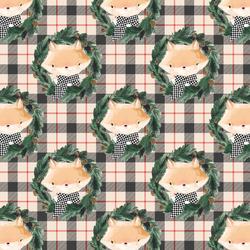 Little Fox on Tartan Plaid in Home