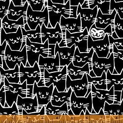 Happy Cat Faces in Black