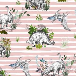 Dinoland in Blush Stripes