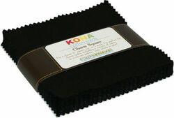 Kona Cotton Solids Charm Squares in Black