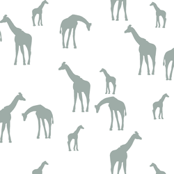 Giraffe Silhouette in Eucalyptus in White