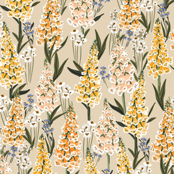 Vintage Foxgloves in Soft Oatmeal