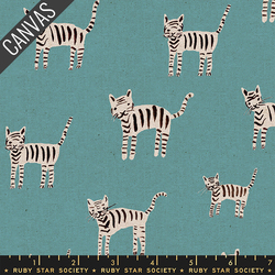 Tiger Stripes Canvas in Turquoise Unbleached