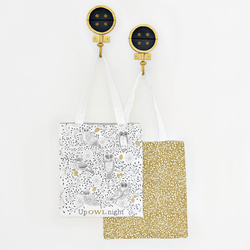 Up Owl Night Tote Panel in Onyx and Gold