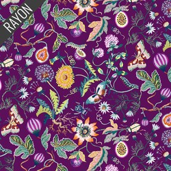 Forage Flowers Rayon in Plum