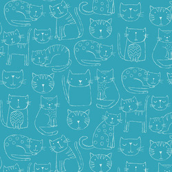 Kitty Outline in Blue