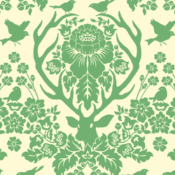 Antler Damask in Green Tea on Ivory