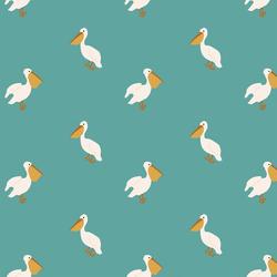 Boho Pelicans in Ocean Teal