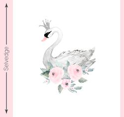Blush Swan Crib Quilt Panel in Elegant