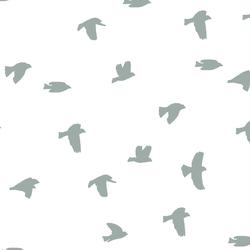 Flock Silhouette in Eucalyptus in White