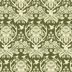 Little Antler Damask in Dark Forest Green