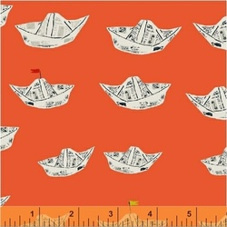 Newspaper Boats in Red Orange