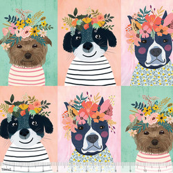 Floral Puppy Panel in Multi