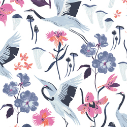 Cranes in White