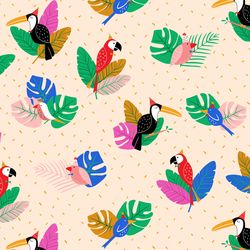 Tropical Birds in Beige Multi