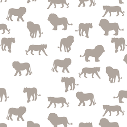 Lion Silhouette in Taupe on White