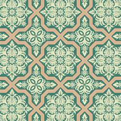 Tile Flourish in Jade Green