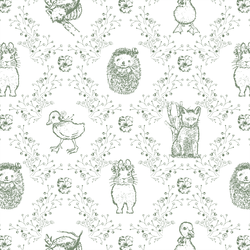 Bunny and Friends in Soft Pine on White