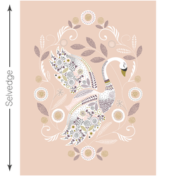 Swan Lake Quilt Panel in Shell