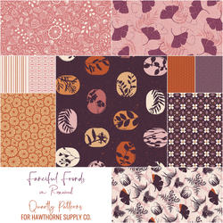 Fanciful Fronds Fat Quarter Bundle in Rosewood