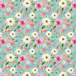 Small Sweet Treat Floral in Aqua Ice
