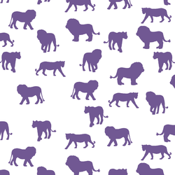 Lion Silhouette in Ultra Violet on White