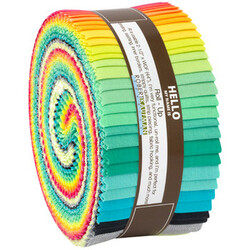 """Kona Solid 2.5"""" Strip Roll in Paintbox Coordinates (Lisa The Unicorn Colorstory)"""