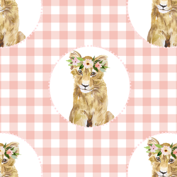 Girl Cub Wreath on Gingham Check in Pink Peach