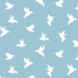 Hummingbird Silhouette in Bluebell