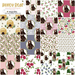 Honey Bear Prints Fat Quarter Bundle in Woodland Bouquet