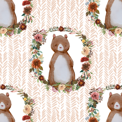 Woodland Bear in Shell Herringbone