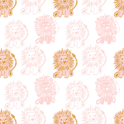 Large Block Print Lions in Powder Pink