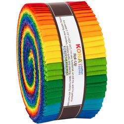 "Kona Solid 2.5"" Strip Roll in Bright Rainbow"