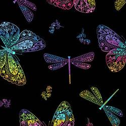 Rainbow Butterflies in Black