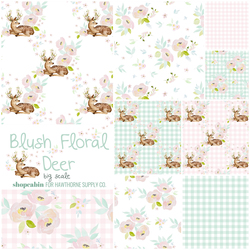Blush Floral Deer Fat Quarter Bundle in Big Garden