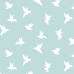 Hummingbird Silhouette in Glacier Blue