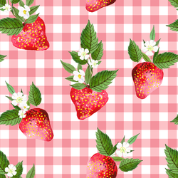 Large Strawberries in Wild Rose Gingham