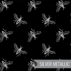 Bees in Silver on Black