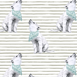 Arctic Wolf on Watercolor Stripes in Permafrost