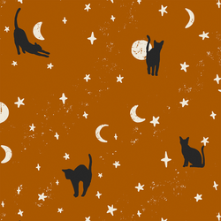 Large Moonstruck Cats in Burnt Orange