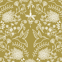 Hummingbird Damask in Gold