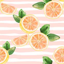Large Citrus Slices in Pink Lemonade Stripe